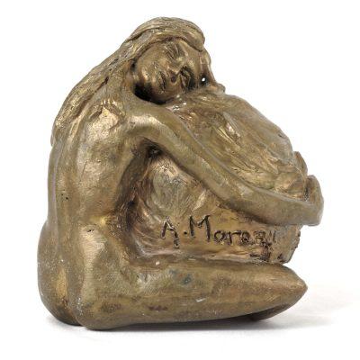 Gaïa, l'amour de la Terre, sculpture en bronze (13x12x10cm)