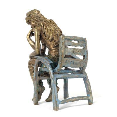 La penseuse, sculpture en bronze (15x10x10cm)