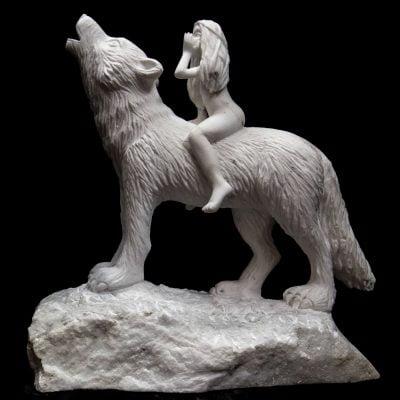 L'appel, sculpture en Marbre blanc de carrare (35x35x20cm)