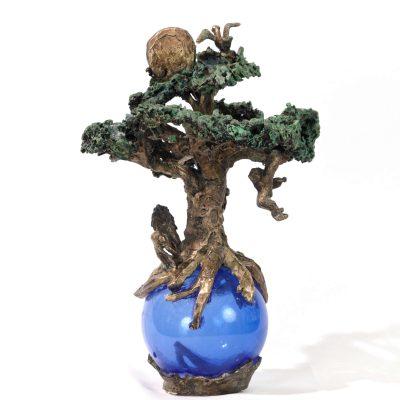 Arbre aux amoureux, sculpture en bronze, verre (25x15x15cm)