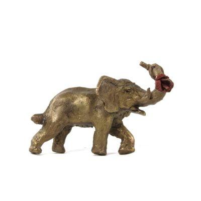 L'éléphant à la rose, sculpture en bronze (4x5x3cm)