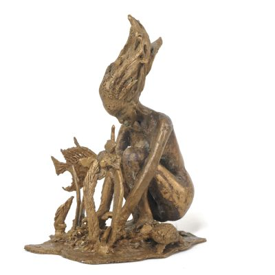 Fille de l'eau, sculpture en bronze (18x13x10cm)