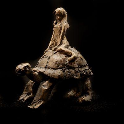 Le voyage, sculpture en bronze (8x4x8cm)
