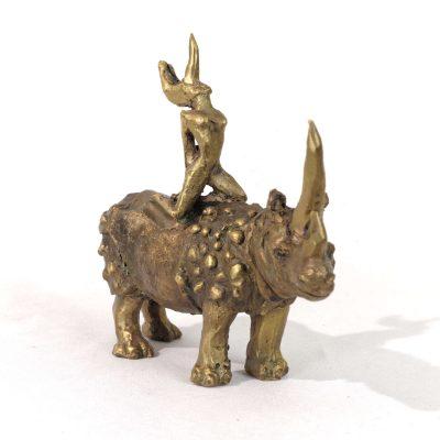 Fille Rhinoceros Sculpture Bronze Moreau 00