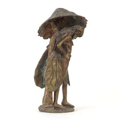 La fée au champignon, sculpture en bronze (24x13x13cm)