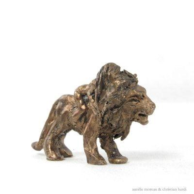 La Fille Lion Sculpture Bronze Moreau 01