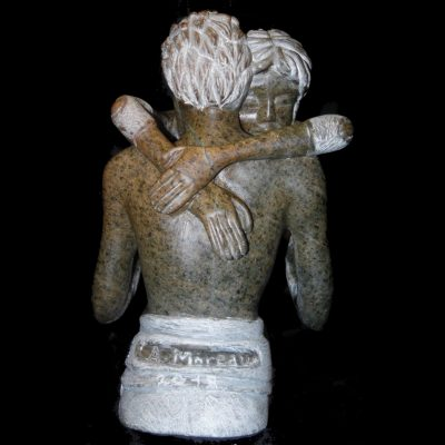 Couple uni, sculpture en Stéatite du brésil (30x20x15cm)